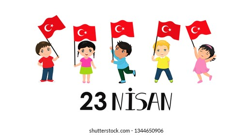 vector illustration of the cocuk baryrami 23 nisan, translation Turkish: April 23, graphic design to the Turkish holiday