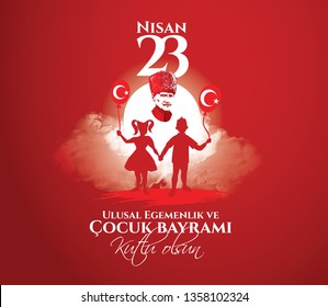 vector illustration of cocuk baryrami 23 nisan , translation: Turkish April 23 National Sovereignty and Children's Day, graphic design to the Turkish holiday, kids icon, children logo.