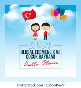 vector illustration of the cocuk bayrami 23 nisan , translation: Turkish April 23 National Sovereignty and Children's Day, graphic design to the Turkish holiday, kids icon, children logo. holiday