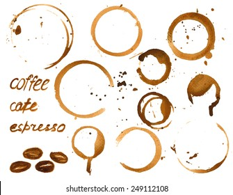 Vector illustration of coffee cup stains. Watercolor painted vector grunge set