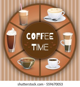 Vector Illustration with coffee drinks. Decorative elements and background for your design. Hot drinks set. Cafe theme icons, can be used in menu.