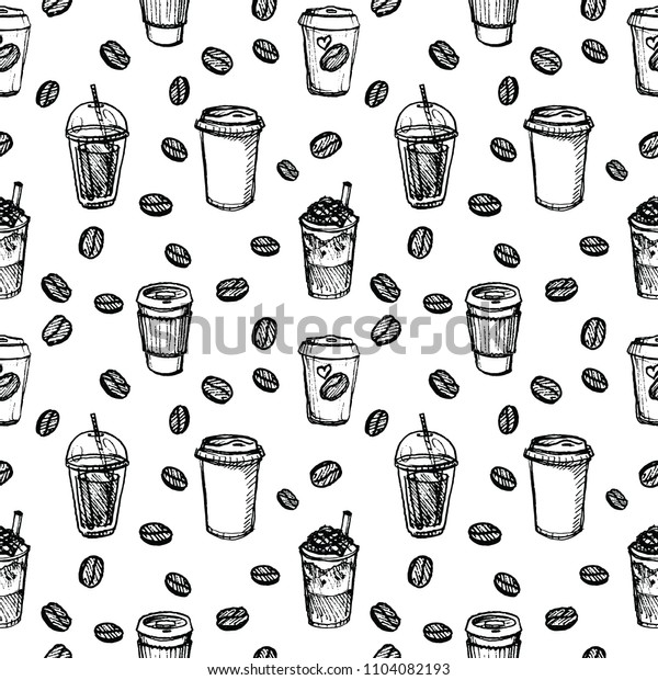 Vector illustration of coffee frappe cup to go with cream, chocolate and beans pattern set in black inkcolor