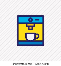 Vector illustration of coffee machine icon colored line. Beautiful coffee element also can be used as coffeemaker icon element.