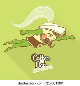 Vector Illustration Coffee man character flying to the rescue