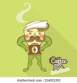 Vector Illustration Coffee man character standing with his hands on the hips