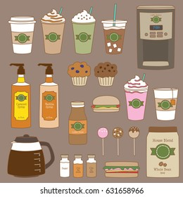 Vector illustration of coffee shop and bakery graphics.