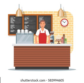 Vector illustration of coffee shop design element with barista standing behind of bar counter, coffee making equipment, utensils, menu. Coffee shop interior and cartoon character in flat style.