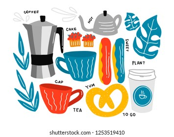 Vector illustration of coffee symbols and different desserts with hand drawn lettering