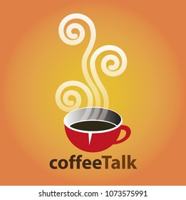 Vector illustration, coffee talk symbol for community and cafe house.