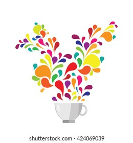 vector illustration / coffee or tea / colorful drops and swirls