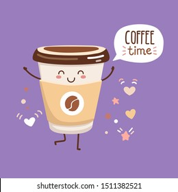 Vector illustration Coffee time with a cute paper cup. Kawaii character with a happy smiling face and doodle hearts, stars, dots around. Card, poster, print design for cafe, kitchen, restaurants.