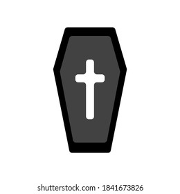 Vector illustration of a coffin for burial. Icons, halloween.