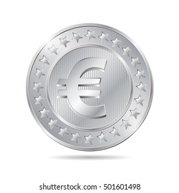 vector illustration of a coin with euro sign. EPS