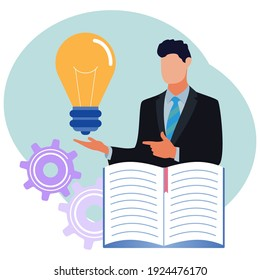 Vector illustration, collect ideas and choose the best of many ideas after brainstorming critical thinking concepts. Creative, innovative process. The light bulb symbol as an unattainable bright mind.