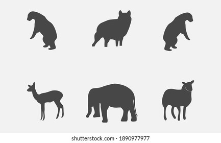 Vector illustration of a collection of animal mammal silhouettes