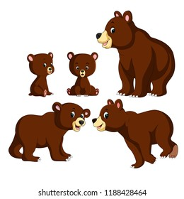 vector illustration of the collection of the bear and baby bear with different posing