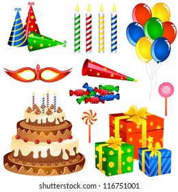 vector illustration of collection of Birthday items