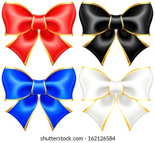 Vector illustration - collection of black and white holiday bows with gold border. Created with gradient mesh.