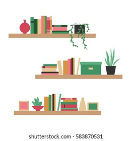 Vector illustration. The collection of bookshelves. Home library. The elements for graphic design. Flat style.