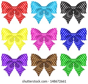 Vector illustration - collection of bows with polka dot. Created with gradient mesh and blending modes.