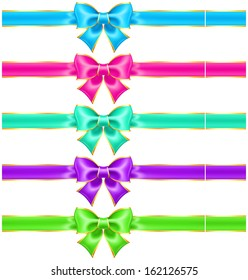 Vector illustration - collection of bright holiday bows with gold border and ribbons. Created with gradient mesh.
