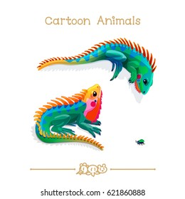 vector illustration collection Cartoon Animals. Two multicolored iguanas and bug. Clip art isolated on transparent background. Graphics characters. Hand drawn creatures. Nature design elements