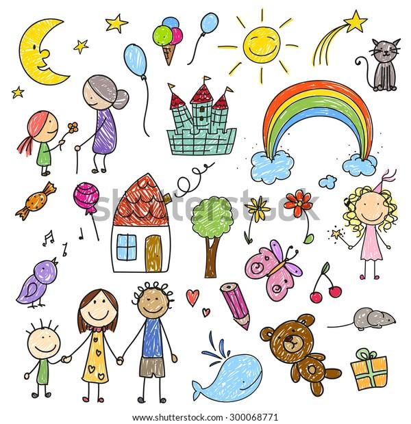 Ilustración vectorial de una colección de dibujos infantiles