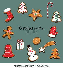 Vector illustration of collection of Christmas cookies isolated on grey background