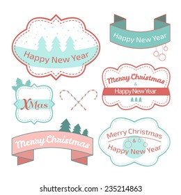 vector illustration. Collection of Christmas labels isolated on white background, pastel shades