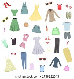 vector illustration collection of clothing and accessories