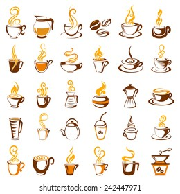 vector illustration of collection of coffee icon