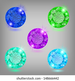 Vector illustration - collection of colored diamonds. Created using transparency, gradient mesh and blending modes.