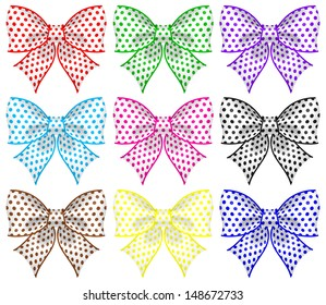 Vector illustration - collection of colored textured bows. Created with gradient mesh and blending modes.