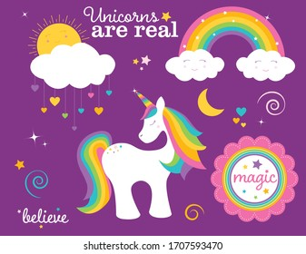 A vector illustration of a collection of cute fantasy magic images: unicorn, rainbow, sun and cloud with heart raindrops, flower with the word magic, and sparkles and swirls and text