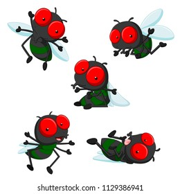 vector illustration of collection of cute little cartoon flies