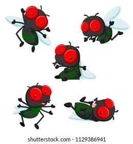 Vektorgrafik der Sammlung süßer kleiner Cartoonfliegen