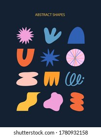 Vector illustration collection of different abstract shapes. Colorful abstract elements for cards, posters, stationery. Abstraction, figures, geometric shapes on dark background.