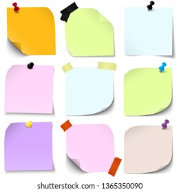 vector illustration of an collection of different sticky papers with pin needle or adhesive stripes office accessories