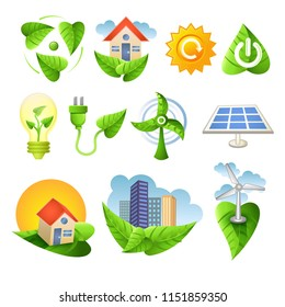 vector illustration of collection of ecological icons