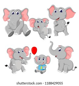 vector illustration of the collection of the elephant and baby elephant