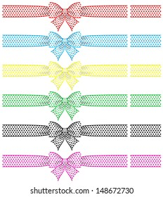 Vector illustration - collection of festive bows with ribbons. Created with gradient mesh and blending modes.