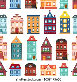 Vector illustration with collection of flat cartoon houses for city or town design. Urban landscape background. Set of exterior facade buildings. Colorful old, retro and modern houses icon
