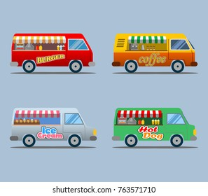 Vector illustration collection of food truck