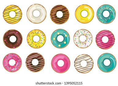 Vector illustration with collection of glazed realistic donuts. Isolated colorful donuts on the white background.