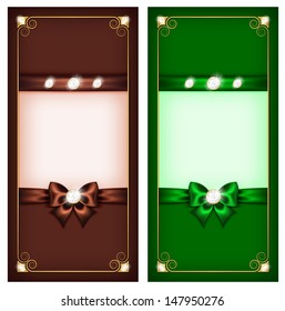 Vector illustration - collection of greeting brown and green cards. Created with gradient mesh, transparency  and blending modes.
