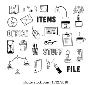 Vector illustration collection of hand drawn doodles of business objects and office items.  Isolated on white background