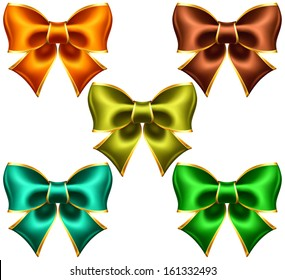 Vector illustration - collection of holiday bows with gold edging. Created with gradient mesh.