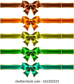 Vector illustration - collection of holiday bows with gold edging and ribbons. Created with gradient mesh.