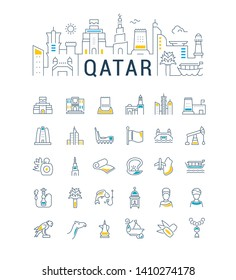 Vector illustration with a collection of icons of Qatar. Linear banner for websites, cards and business. Attractions in Qatar.