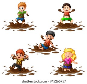 Vector illustration of Collection of kids playing in the mud